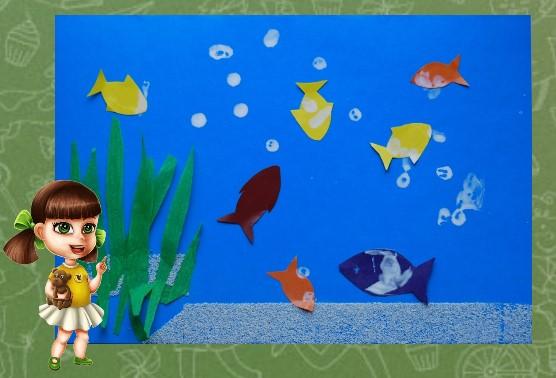 фото аппликации рыбки в аквариуме