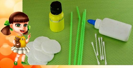 материал: гуашь, ватные диски и палочки