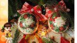 Декупаж новогодних шаров вместе с родителями